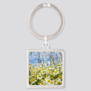 Painted Wild Daisies Square Keychain