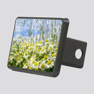 Painted Wild Daisies Rectangular Hitch Cover