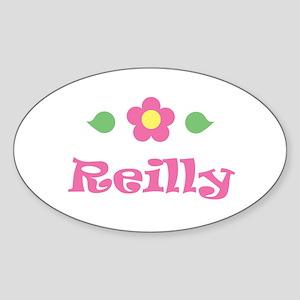 "Pink Daisy - ""Reilly"" Oval Sticker"