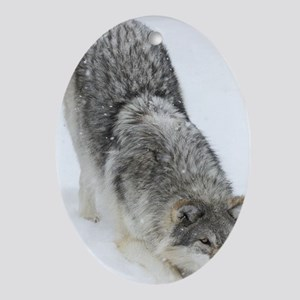 x14 2wolf Oval Ornament