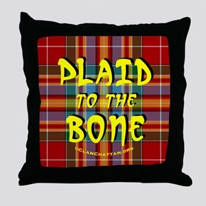 chat2plaid4x4circleC Throw Pillow