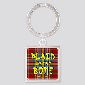 chat2plaid4x4circleC Square Keychain