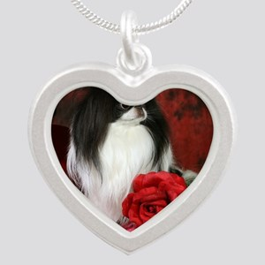 Large 5JCSpencerRose4x4 Silver Heart Necklace