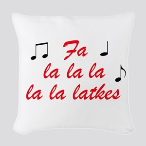 Fa la la la latkes Woven Throw Pillow
