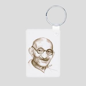 ghandi Aluminum Photo Keychain