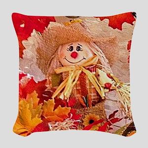 Scarecrow with autumn colors Woven Throw Pillow
