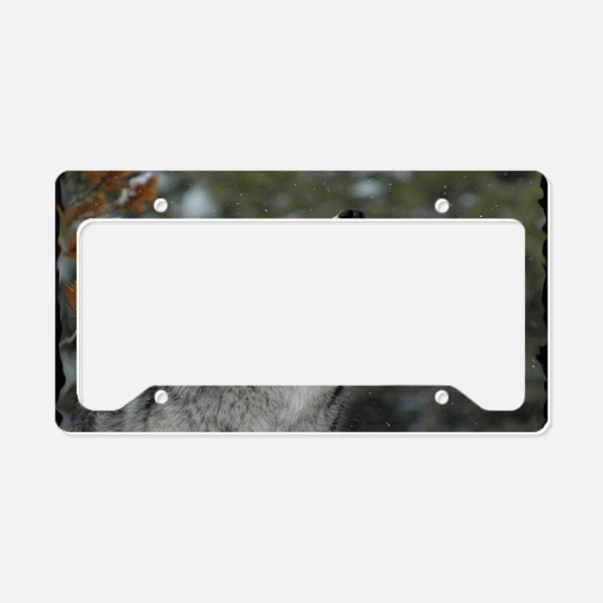 x14blk Christmas Wolf License Plate Holder