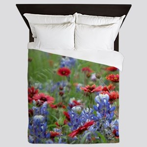 BLUEBONNETS AND FIREWHEELS 2 Queen Duvet