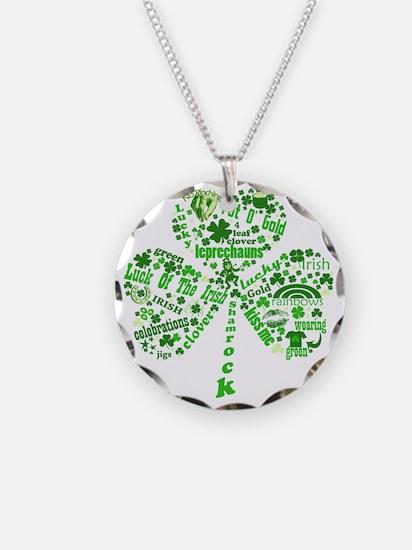 Irish Shamrock Necklace Circle Charm