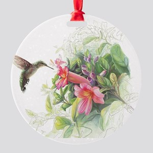 Hummingbird_Card Round Ornament