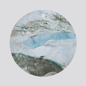 Glacier Approach - Print Round Ornament