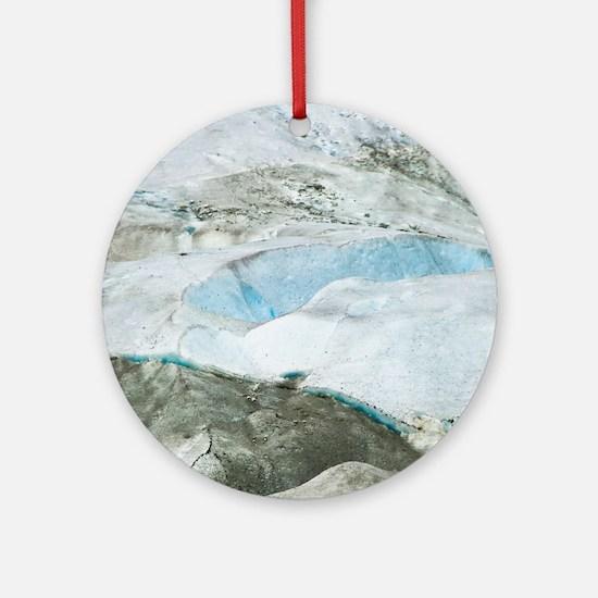 Glacier Approach - Print Round Ornament