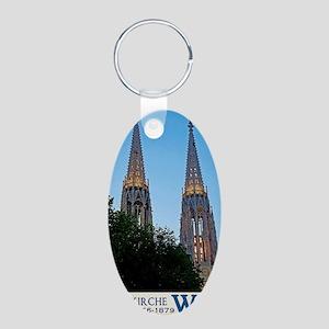 Votivkirche Night Aluminum Oval Keychain