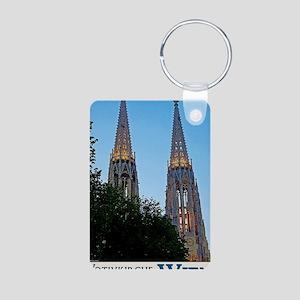 Votivkirche Night Aluminum Photo Keychain
