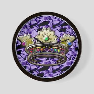 Royal jeweled crown square satin backgr Wall Clock