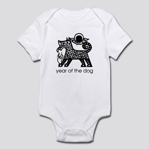 Year of the Dog B and W Infant Bodysuit