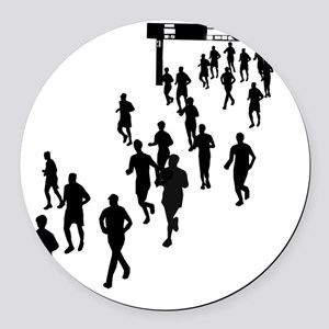 Running People Round Car Magnet