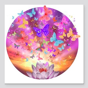 """2-celestial_butterfly_ci Square Car Magnet 3"""" x 3"""""""