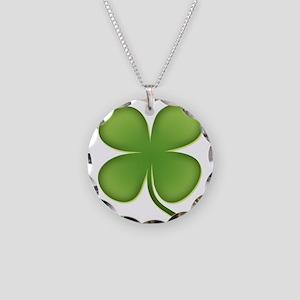Four Leaf Clover Necklace Circle Charm