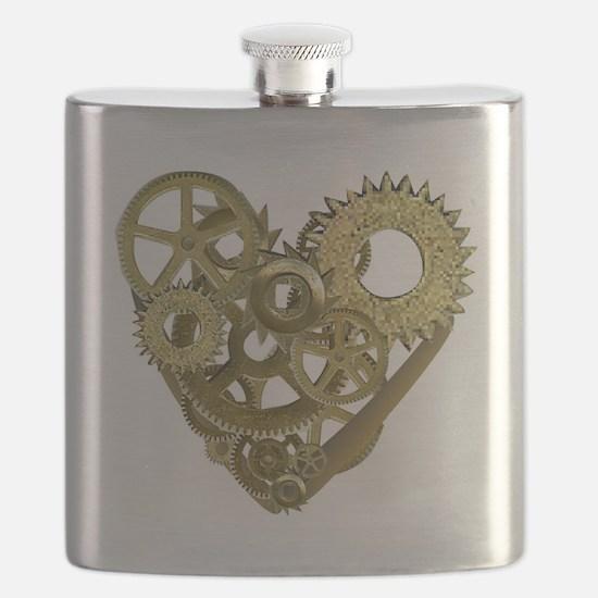 gear heart white Flask