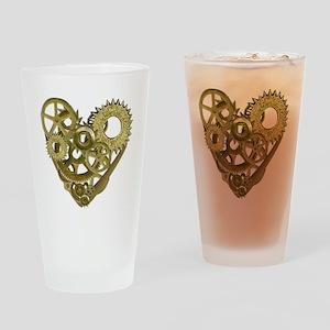 gear heart white Drinking Glass