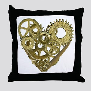 gear heart white Throw Pillow