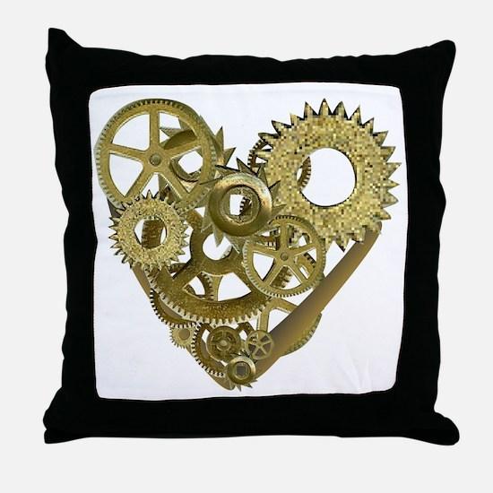 gear heart white Throw Pillow