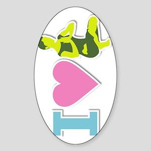 I-heart-yoga_vertical Sticker (Oval)