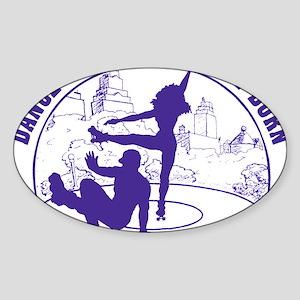 Mens_Circle_back_purple Sticker (Oval)
