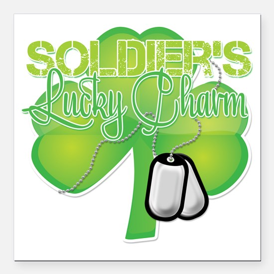 "LuckyCharm_Soldier Square Car Magnet 3"" x 3"""