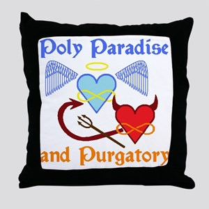 2-poly paradise  purgatory logo flier Throw Pillow