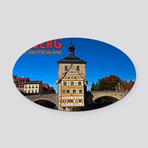 Bamberg Altes Rathaus with CoA Oval Car Magnet
