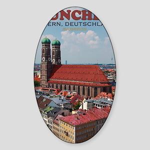 Munich Frauenkirche Portrait Sticker (Oval)