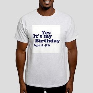 April 4 Birthday Ash Grey T-Shirt