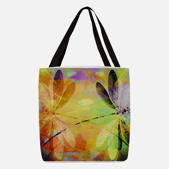Colorful dragonfly reflection Polyester Tote Bag