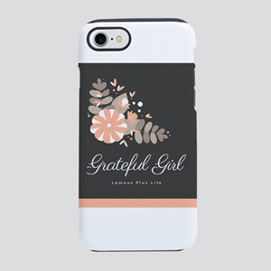 Grateful Girl With Peach Floral Graphics iPhone 7