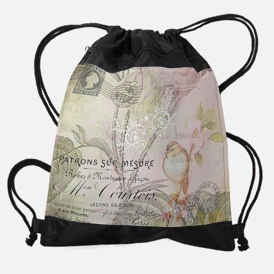Pink bird floral Drawstring Bag