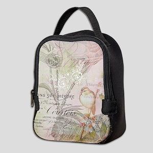 Pink bird floral Neoprene Lunch Bag