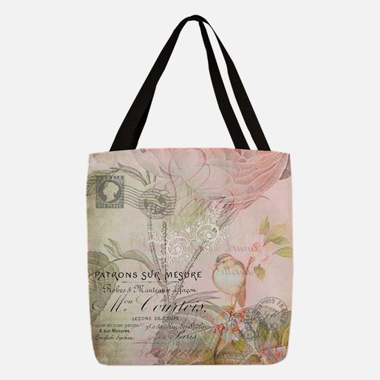 Pink bird floral Polyester Tote Bag