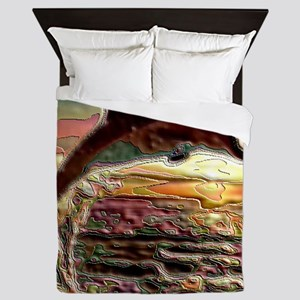 ENAMEL DOLPHIN AT SUNSET  BLANKET Queen Duvet