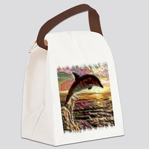 ENAMEL DOLPHIN AT SUNSET  BLANKET Canvas Lunch Bag