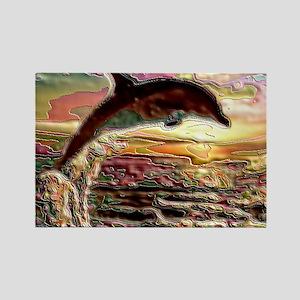 ENAMEL DOLPHIN AT SUNSET  BLANKET Rectangle Magnet