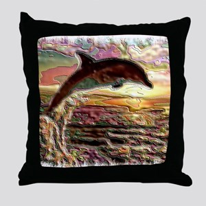 ENAMEL DOLPHIN AT SUNSET  BLANKET Throw Pillow