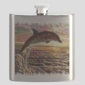 ENAMEL DOLPHIN AT SUNSET  BLANKET Flask