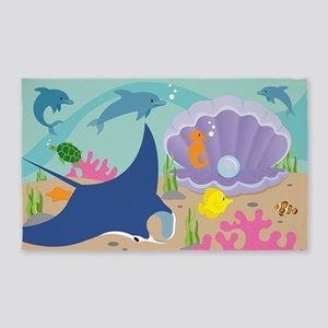 Mermaid Ocean Themed 3'X5' Area Rug