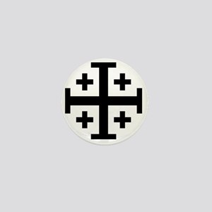 Cross Potent - Jerusalem - Black Mini Button