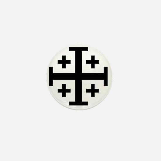 Cross Potent - Jerusalem - Black Mini Button