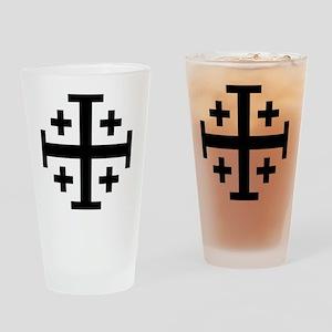 Cross Potent - Jerusalem - Black Drinking Glass