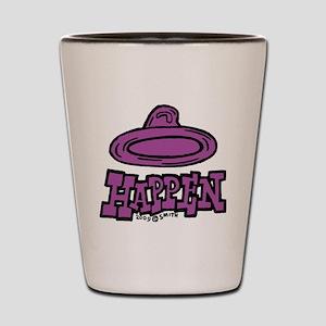 condom_happen_right_purple Shot Glass