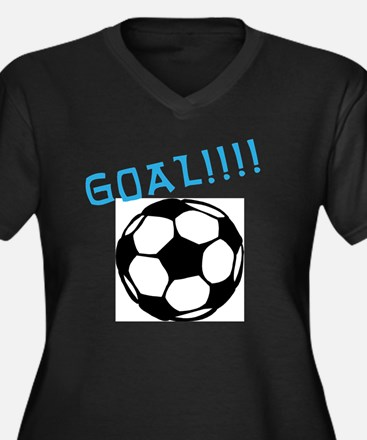 soccer Women's Plus Size Dark V-Neck T-Shirt